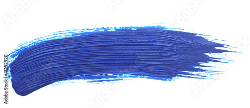 Canvas Print blue stroke of the paint brush isolated on white