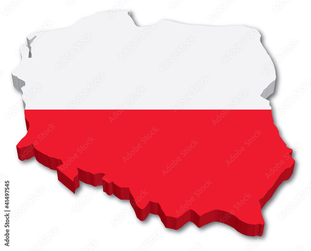 3D mapa Polski z flagą <span>plik: #41497545 | autor: chuck</span>