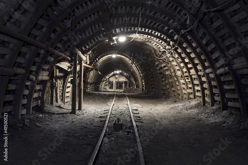 Fotografie, Obraz Underground tunnel in the coal mine