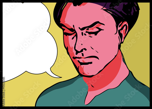 Vector illustration of a  man in a pop art/comic style.