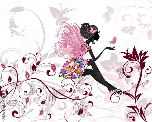 Fototapeta premium Kwiatowa wróżka z motylami