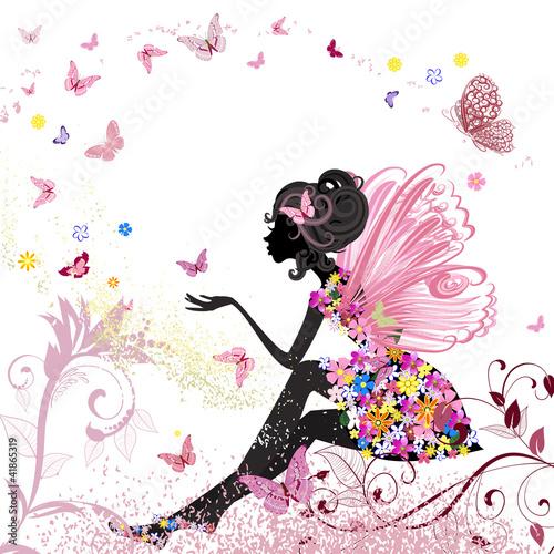 Fototapeta premium Kwiatowa wróżka w środowisku motyli