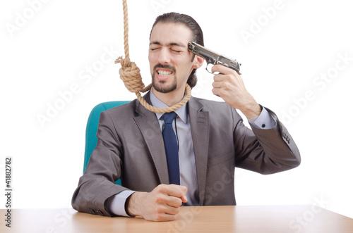 Slika na platnu Businessman man with hand gun