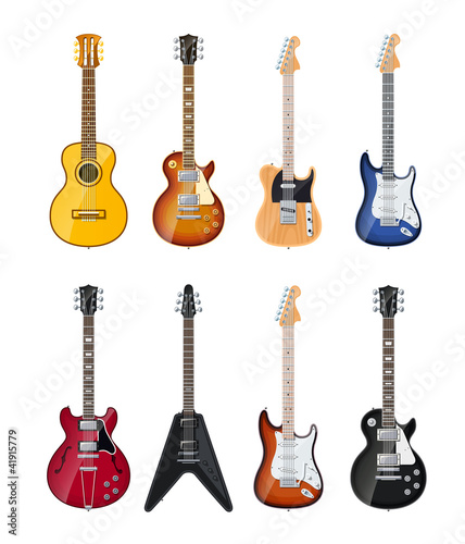 Fotografia acoustic and electric guitars set of vector icon illustration