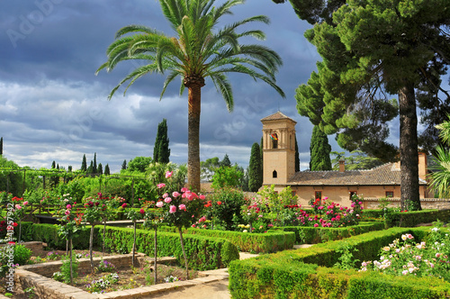 Leinwand Poster Gärten von La Alhambra in Granada, Spanien