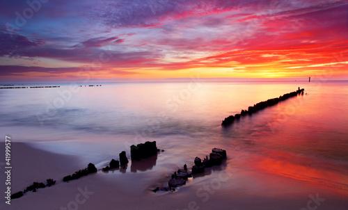 Baltic sea at beautiful sunrise in Poland beach. #41999577