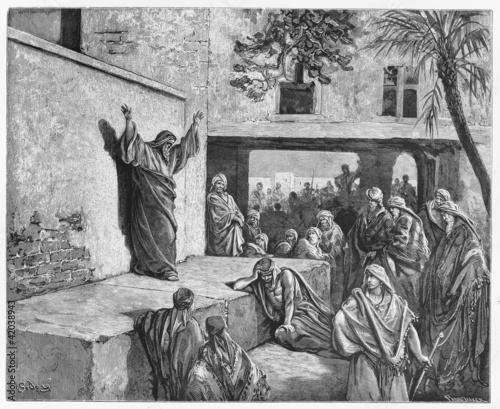 Fotografie, Obraz Micah the Moreshite prophet preaching to the Israelites