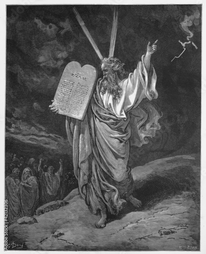 Obraz na plátně Moses comes down from the mountain with the tablets of Law