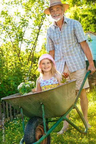 Fotografia Grandfather giving granddaughter ride in wheelbarrow