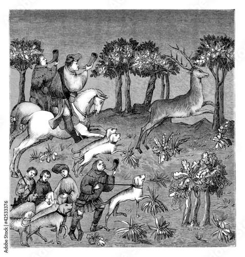 Billede på lærred 15th century : Deer Hunt - Chasse Cerf - Jagd Hirsch