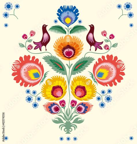 Naklejka premium Kwiaty lowickie
