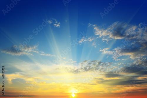 the sun above the horizon Fototapet