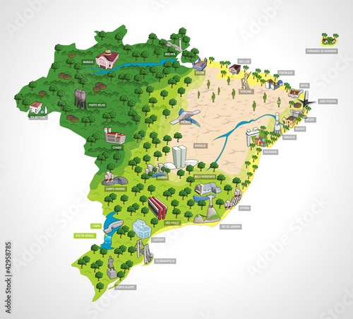 Photo Map of Brazil with all capitals. Cities of Brazil.