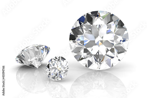 diamond jewel on white background. High quality 3d render #43094766