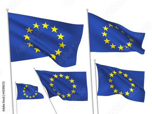 Fototapeta European Union vector flags