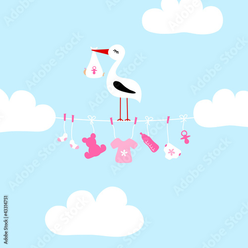 Stork On Clothes Line Baby Symbols Girl Clouds #43314751