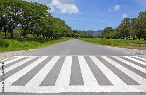 Carta da parati zebra traffic walk way, cross way  with blue sky