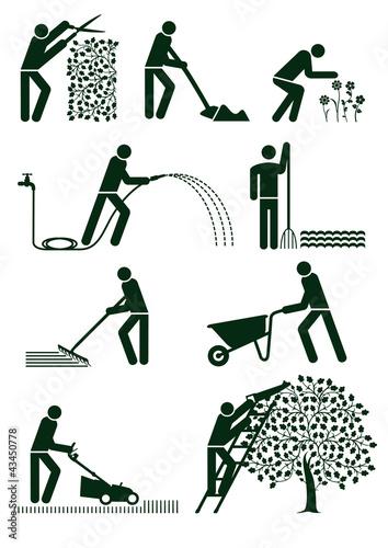 Fotografie, Obraz Gartenpflege Piktogram