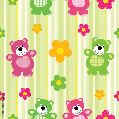 Vector seamless pattern of a toy teddy bear #43528575