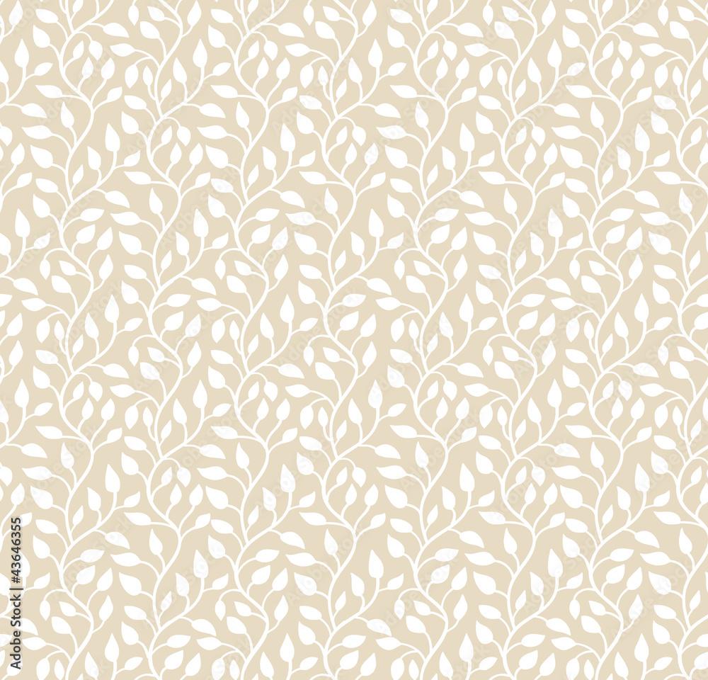 Fototapeta Bezszwowe światło beżowy wzór liści Ilus