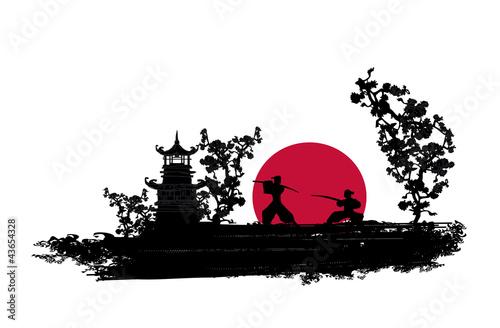 Fotografia Japanese Samurai fighter silhouette