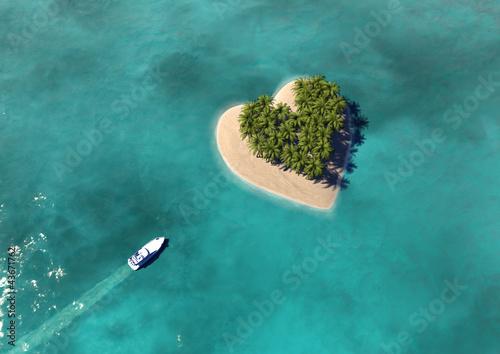 Obraz na plátne Heart Shaped Paradise Island