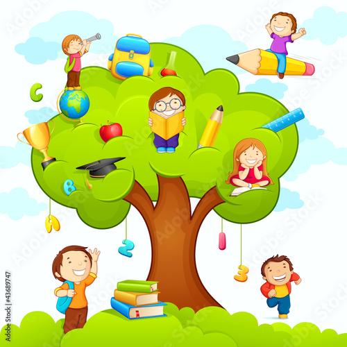 vector illustration of kids studying on education tree #43689747