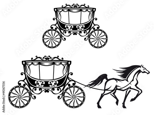 Photo Horse with old carriage