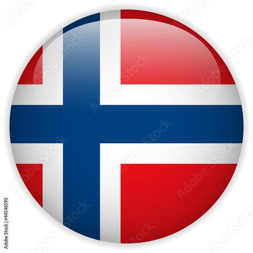 Norway Flag Glossy Button Fototapeta