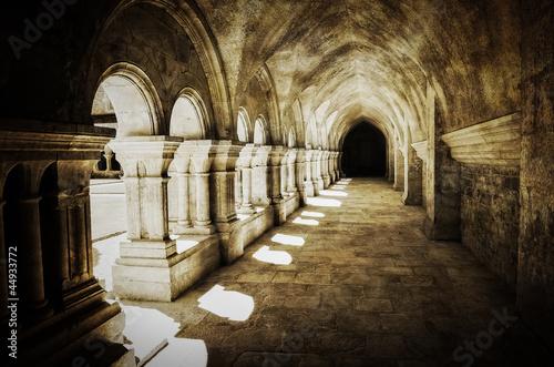 Vászonkép Abbaye de Fontenay archway retro vintage, France