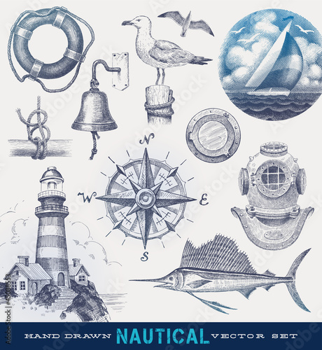 Fotografia Nautical hand drawn vector set