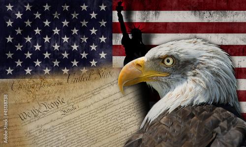Photographie Símbolos y bandera de los Estados Unidos de América