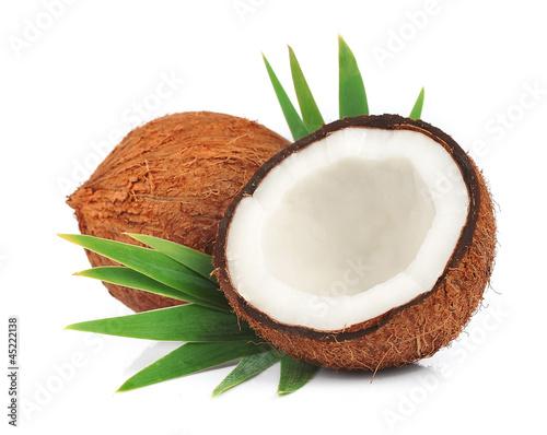 Obraz na płótnie Coconuts with leaves