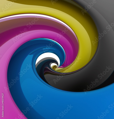Spiral of CMYK colors