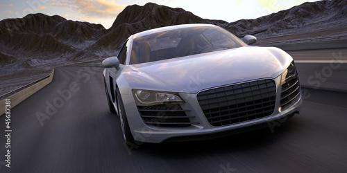 Fototapeta premium samochód sportowy szybko uruchomić pod pustynnym słońca renderowania 3d