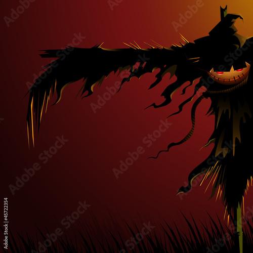 Fotografia vector illustration of scary scarecrow in Halloween night