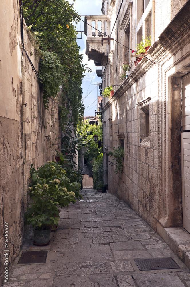 Wąska ulica ze starymi domami <span>plik: #45765527 | autor: Nazzu</span>