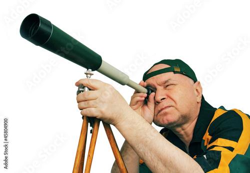Canvastavla Man, an astronomer looking through a telescope.