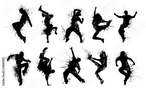 Canvas Grunge People Silhouettes