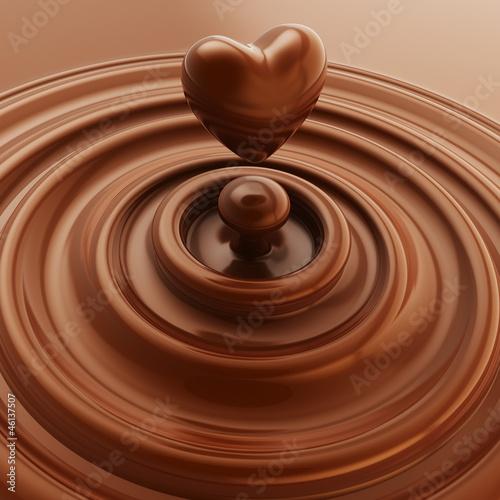 Heart symbol made of liquid chocolate