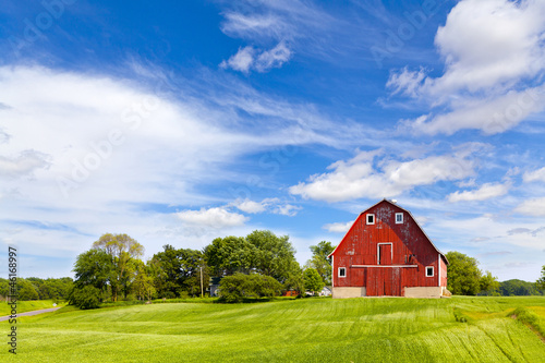 Carta da parati Agriculture Landscape With Old Red Barn