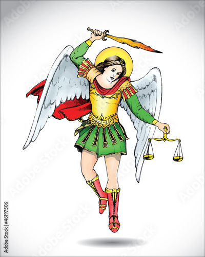 Stampa su Tela Angel Michael the Archangel - vector illustration