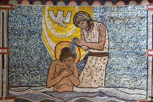 Canvas Print Tile mosaic of Jesus baptising in river