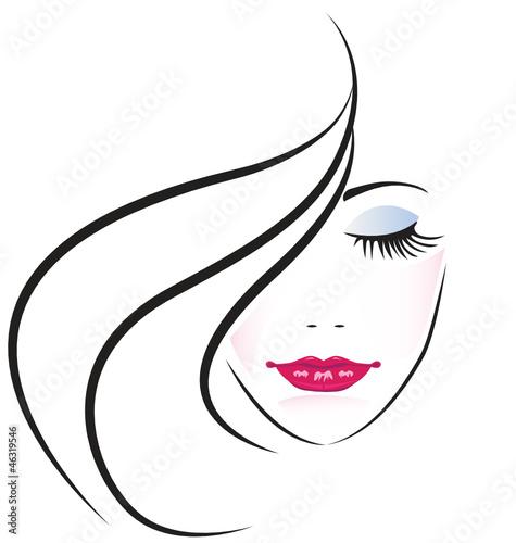 Face of pretty woman silhouette vector #46319546