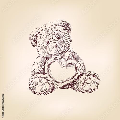 illustration of  teddy bear with  heart.