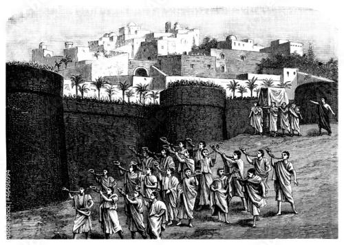 Falling the walls of Jericho - Biblical scene Fototapete