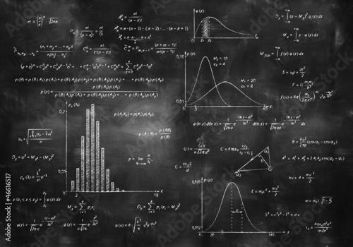 Wallpaper Mural math physics formulas on chalkboard