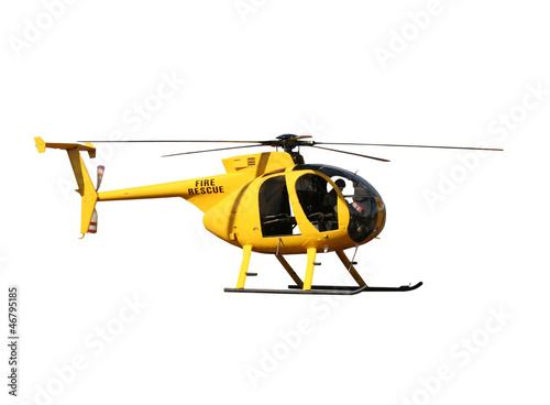 Fotografie, Obraz Generic yellow helicopter for fire/rescue, isolated.