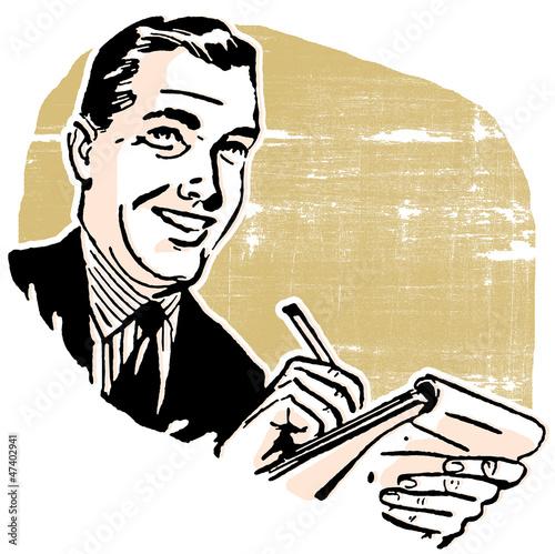 Fotografia business man writing in a notebook