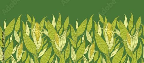 Canvas Print Vector corn plants horizontal seamless pattern ornament